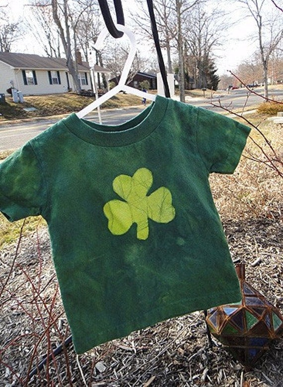 Baby T-Shirt: Green with Batik Lucky Shamrock, Short Sleeves (12 months) Ready to Ship