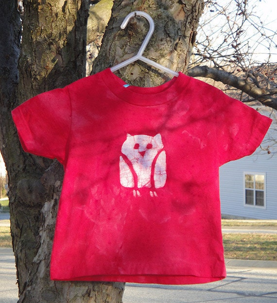 Toddler T-Shirt: Red with Batik Owl, Short Sleeves (2T) READY TO SHIP