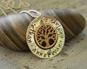 family hand stamped necklace, family tree, children's names