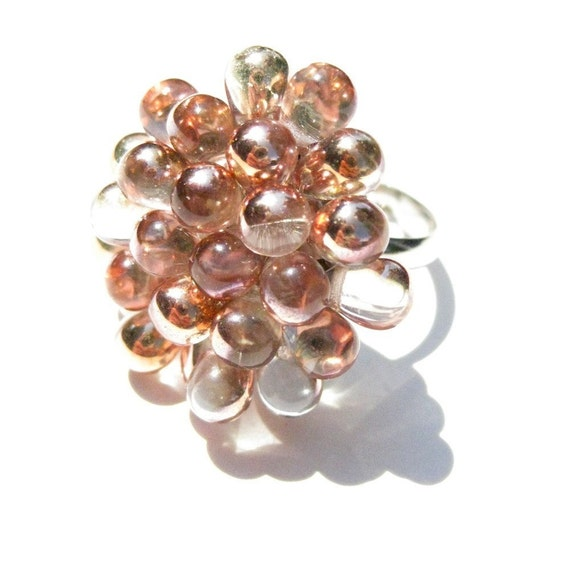 Pink Champagne Ring Cluster Ring, Sparkling Cocktail Ring, Wedding Bridesmaids gift, Pink Gold Fashion ring, Bubbly Champagne Statement ring
