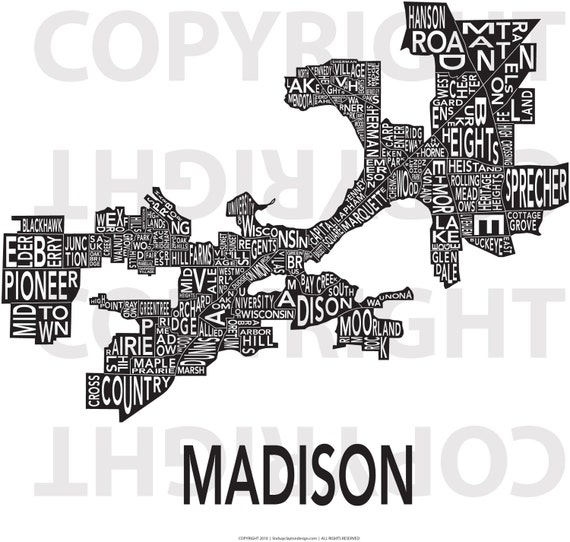 Urban Neighborhood Poster - Madison - 24 x 36 INVERSE