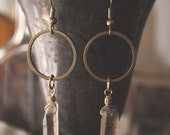 Smoky Quartz Brass Ring Earrings