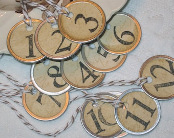 PETITE Rustic NUMBER TAGS, Set of 12