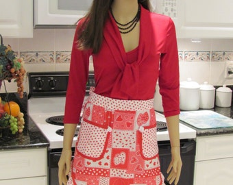 SEXY STYLE APRON,Half apron  in a red, white and pink heart print, two pockets