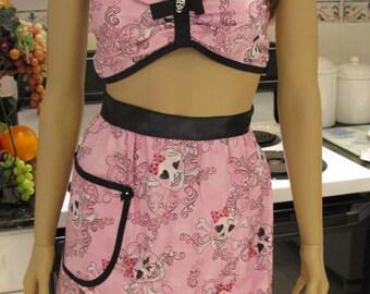 SEXY GOTH APRON Set, Half Apron and bra set in pink with black trim, sexy,girly,skulls