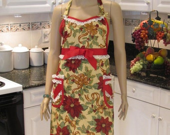 FULL APRON,HOLIDAY Motif, beige with a red pointsetta print with lace and ribbon trim, two pockets