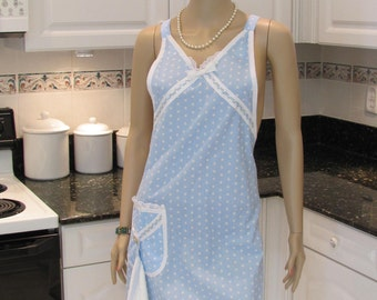 SEXY STYLE APRON, Full Apron, Mod  style, full apron in a powder blue and white polka dot with a hanging dish towel