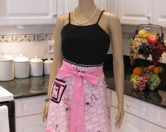 BREAST CANCER SURVIVOR -Half apron, hope for the cure print