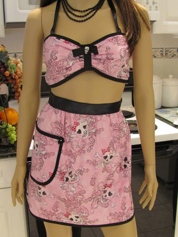 READY TO SHIP: Sexy,retro style,Half Apron and bra set in pink with black trim, goth,sexy,girly,skulls