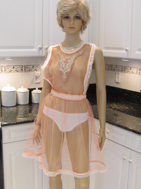 READY TO SHIP: Elegant Hostess apron,Bridal shower gift, Sexy , hostess apron, peach sheer fabric, called peaches and cream