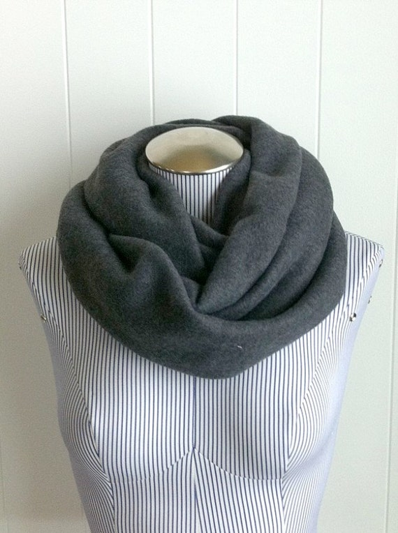 Unisex Charcoal Gray Fleece Infinity Scarf