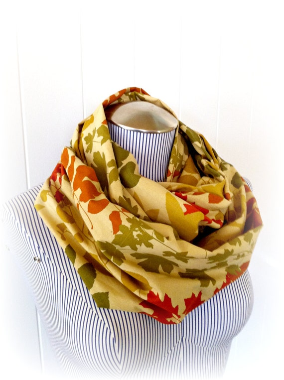 Leaves Infinity Scarf, Autumn Fashion Loop Scarf
