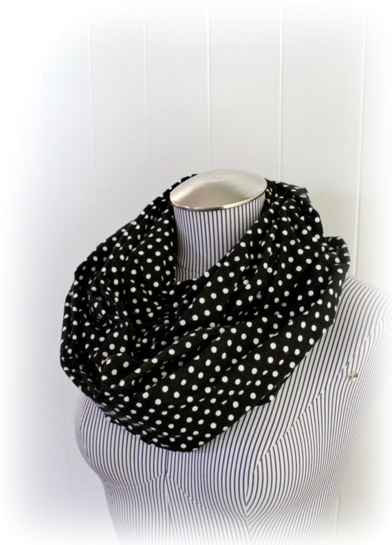 Polka Dot Scarf, Infinity Scarf Black with White Polka Dots Flannel Circle Loop Scarf