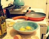 vintage kitchen photo, food photography breakfast, eggs, cooking, aqua, yellow, orange, turquoise, yellow - SUNDAY MORNING BREAKFAST