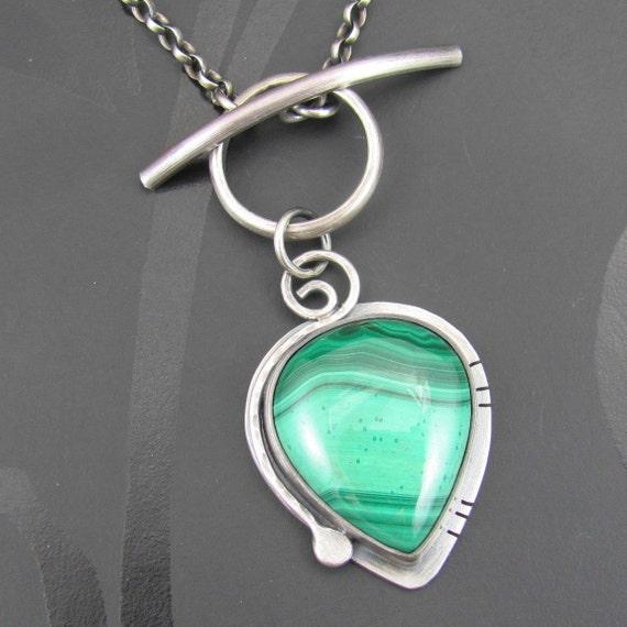 malachite sterling silver necklace - malachite necklace - sterling silver necklace - toggle clasp