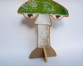 Hand painted wooden sculpture -- Green Mushroom with Eyes