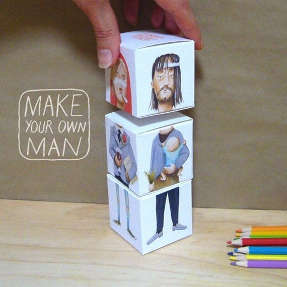 Make Your Own Man interchangeable cubes with original illustrations