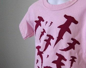 Hammerhead Sharks Organic Kids T Shirt Pink