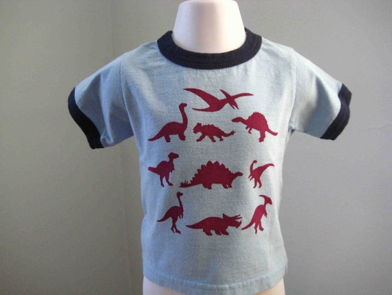 Dinosaur T Shirt Toddler and Kids Ringer