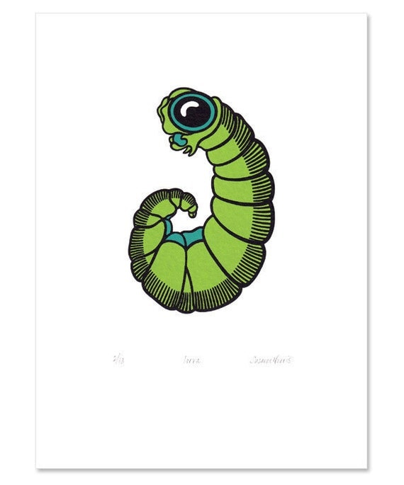 Larva 'specimen' - Limited edition three-colour screenprint