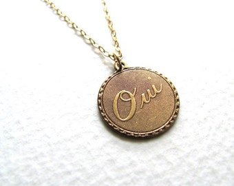 Oui charm necklace on delicate 14k gold fill chain, vintage-inspired, French, copper tone