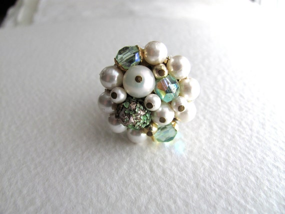 Green and pearly cocktail ring, upcycled vintage bead cluster on adjustable band