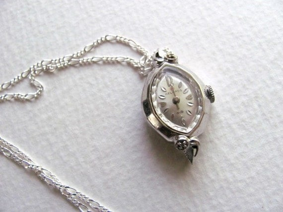 Vintage Helbros watch pendant necklace with diamond chips on long silver chain, upcycled vintage jewelry