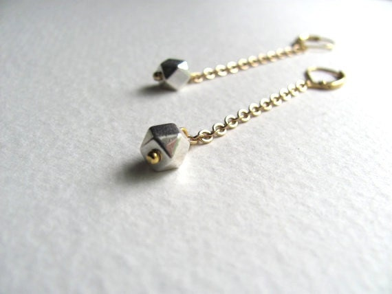 ON SALE: Geometric mixed metal drop earrings, antiqued gold chain and silver faceted bead