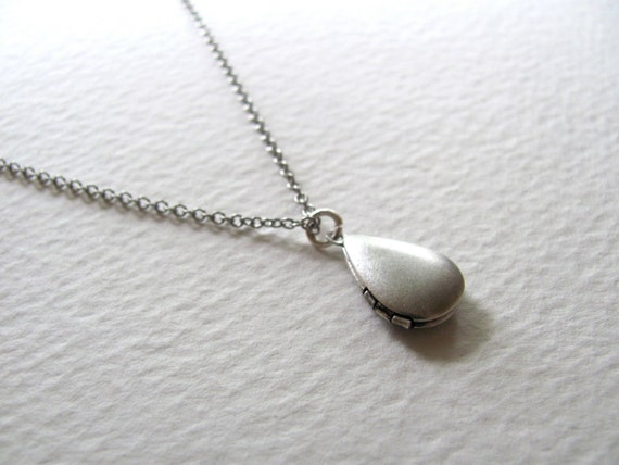 Sterling silver puffy teardrop locket on antiqued silver chain, upcycled vintage piece