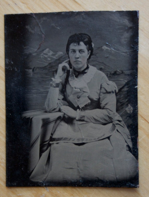 Tintype: Young Lady With Braid, Very Small
