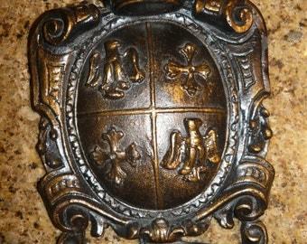 Shield Wall Plaque   FREE USA SHIPPING   Wall Decor   Medieval   FleurDeLisJunkie   Eagle shield   Coat of arms   Cross shield   Wall crown