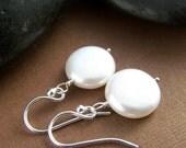 Lunar Earrings - Coin Pearl Sterling Silver