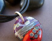 Nightfall Glass Pendant Necklace - Artisan Glass Disc on Multi Strand Leather