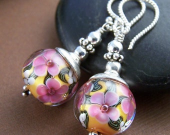 Sunkissed Earrings - Lampwork Glass Bead and Sterling Silver Earrings