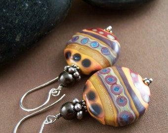 Pathways Earrings - Artisan Glass Bead and Sterling Silver Beaded Earrings