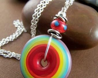 Color Wheel Necklace - Lampwork Glass Disc Pendant Necklace