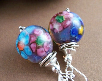 Watercolor Floral Earrings - Lampwork Glass Bead and Sterling Silver