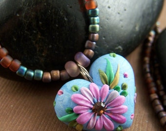 Abby Necklace - Polymer Clay Heart Pendant with Seed Bead Necklace