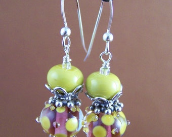 Lacey Earrings - Lampwork Glass Bead Sterling Silver