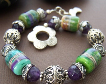Katy Beaded Bracelet - Artisan Lampwork Glass Bead with Amethyst and Sterling Silver