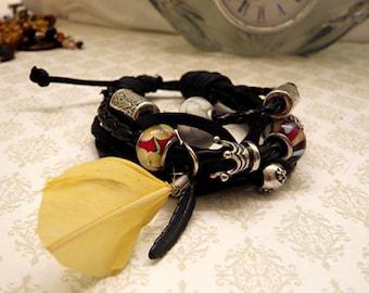 Unisex Leather Feather Beaded Rock Bracelet     WINTER SALE