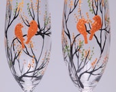 Hand painted Wedding Toasting Flutes Set of 2 Personalized Champagne glasses Trees and golden orange birds