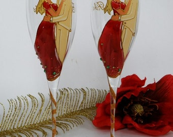 Hand painted Wedding Toasting Flutes Set of 2 Personalized Champagne glasses Groom and Brides red and yellow - Inspiration India