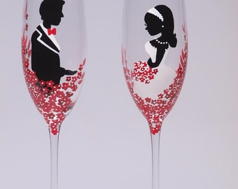 Hand painted Wedding Toasting Flutes Set of 2 Personalized Champagne glasses Groom and Bride Red Black and White - Red passion flowers