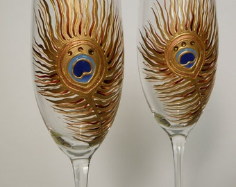 Hand painted Gold Peacock Feathers with crystals Wedding Toasting Champagne glasses  Set of 2