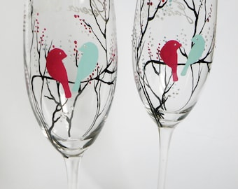 Hand painted wedding glasses personalized flutes Black treesand Bright purple bird and Aqua blue bird