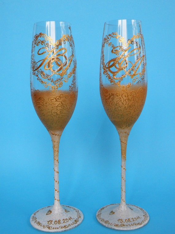 Hand painted Wedding Toasting Flutes Set of 2 Personalized Champagne glasses Russian Style