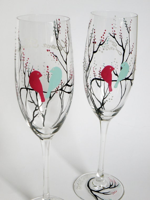 Hand painted wedding glasses personalized flutes Black treesand Bright purple bird and Aqua blue bird