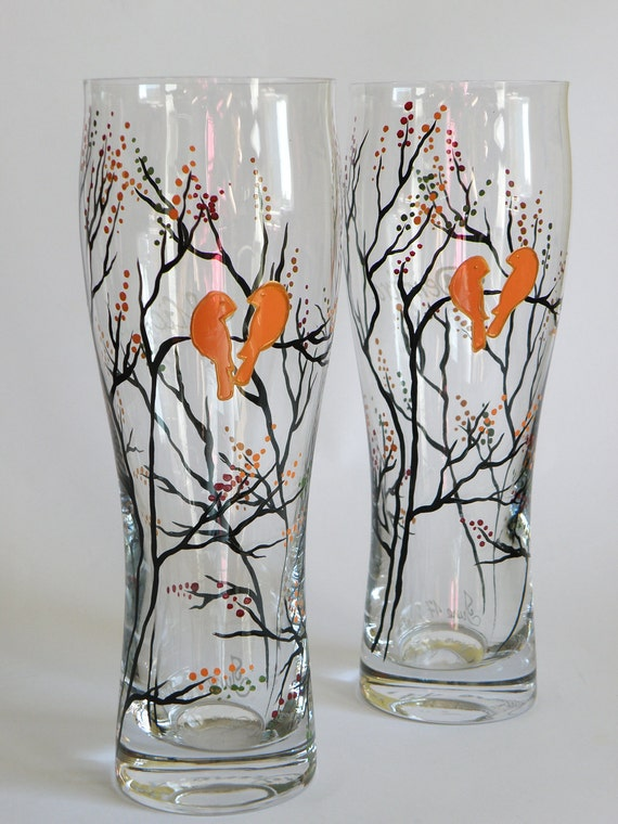 Hand painted Wedding beer glasses Trees and golden orange birds