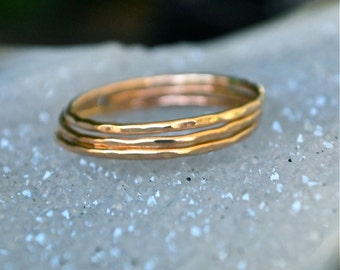 3 Rings- Gold Filled and Silver Stack Ring The Skinny Stack Pick your number stack set